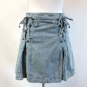Free People Women's 8 Blue Railroad Lace-Up Skirt